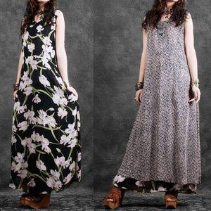OS Vintage 90s Reversible Caftan Airy Floral Dress
